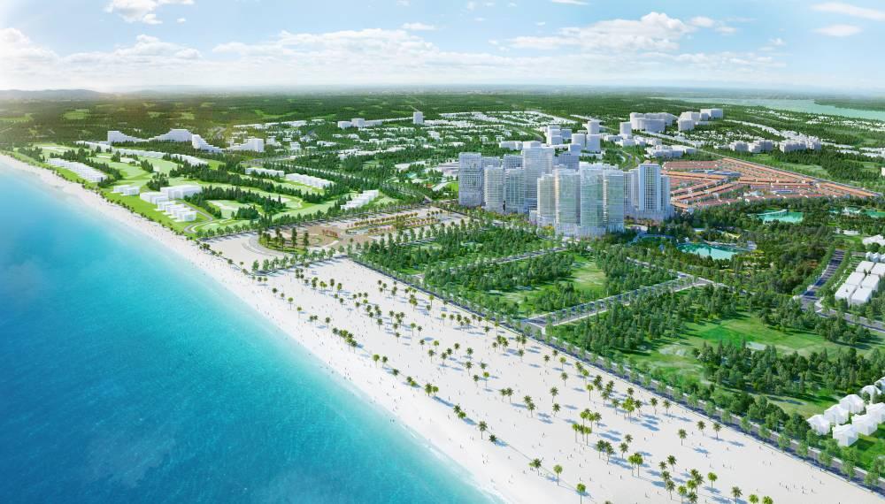 Bãi biển dài trong vắt tại dự án Takashi Ocean Suite Kỳ Co. Ảnh: Danh Khôi Group